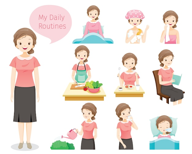 The daily routines of old woman, various activities, relaxing