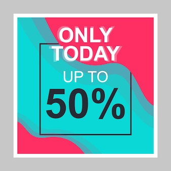 Daily sale social media posts mockup. 50% off discount. advertising web banner design template. social media booster, content layout. isolated promotion border, frame with headlines, linear icons