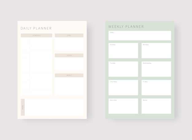 Daily and weekly planner template set of planner and to do list modern planner template set