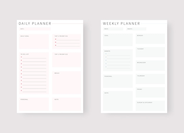 Daily and weekly planner template set of planner and to do list