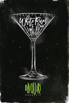 Daiquiri cocktail lettering teaspoon sugar, white rum, lime juice in vintage graphic style drawing with chalk and color on chalkboard background