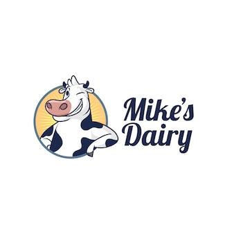 Dairy cow mascot logo