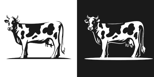 Dairy cow with horns silhouette