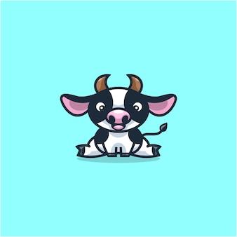 Dairy cows logo design illustration cartoon cute Premium Vector