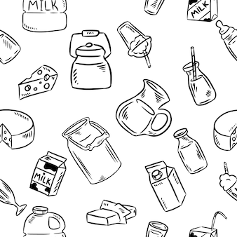 Dairy doodles seamless pattern