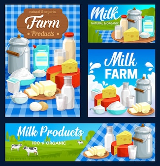Dairy farm food products, milk and butter, cheese and yogur