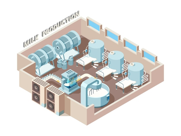 Dairy food factory. automation industrial milk production bottling equip lines  isometric factory interior.