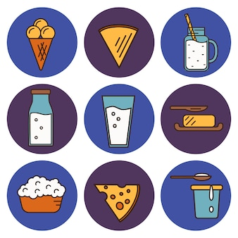 Dairy icons set in line style design