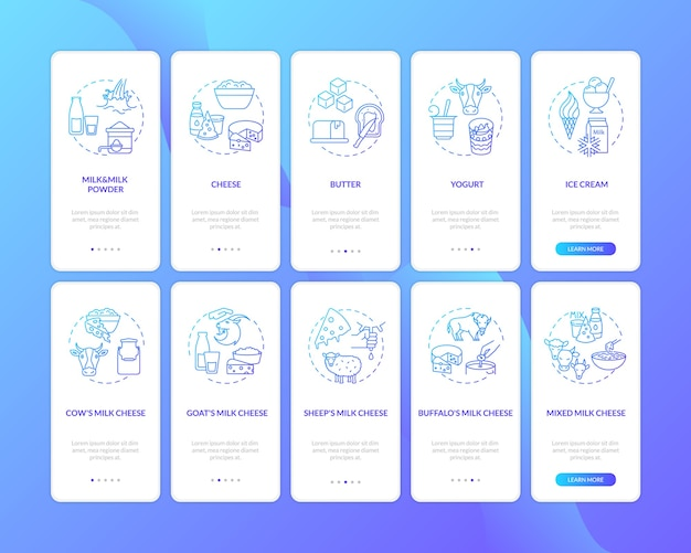 Dairy industry blue gradient on boarding mobile app page screen with concepts set.