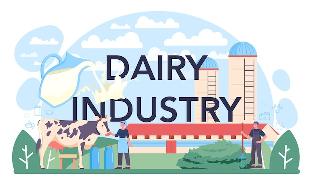 Dairy industry typographic header. dairy natural product for breakfast. cow milking, dairy pasteurization, fermentation and milk, cheese, butter making. flat vector illustration