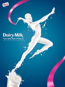 Dairy milk ads, elegant woman doing rhythmic gymnastics and jumping out of glass of milk in  illustration, blue background
