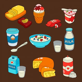 Dairy milk products isolated icons.