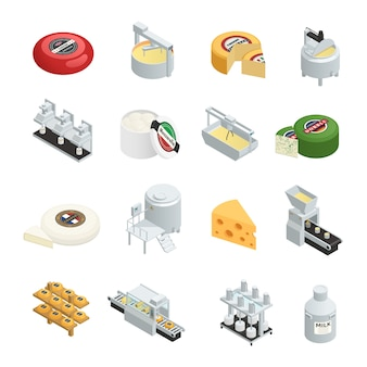 Dairy production factory isometric icons set