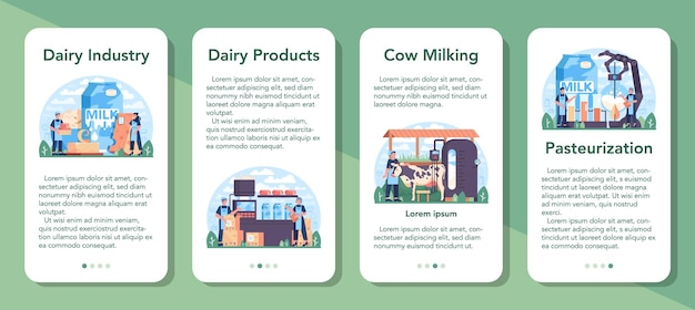 Dairy production industry mobile application banner set. dairy natural product for breakfast. cow milking, dairy pasteurization, fermentation and milk, cheese, butter making. flat vector illustration