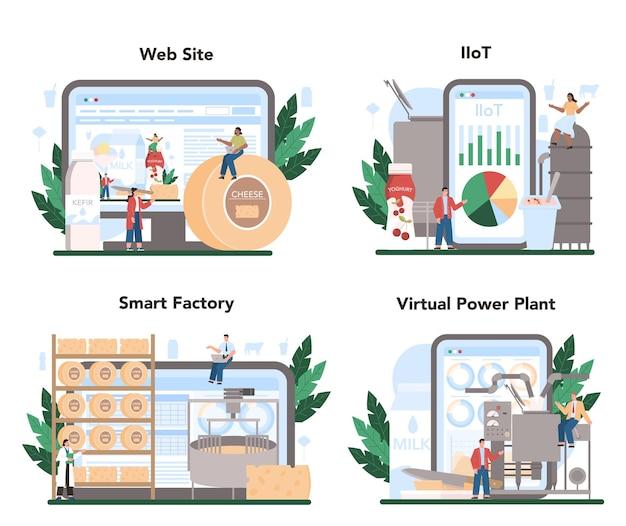유제품 생산 산업 온라인 서비스 또는 플랫폼 세트.