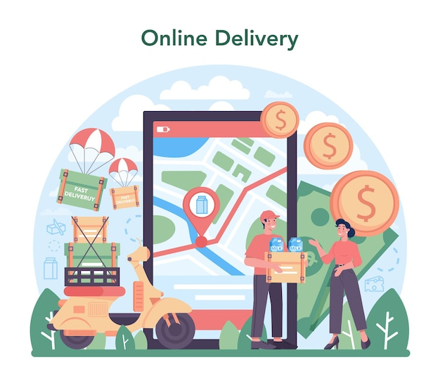 Dairy production industry online service or platform. dairy natural product. cow milking, dairy pasteurization. online delivery. flat vector illustration