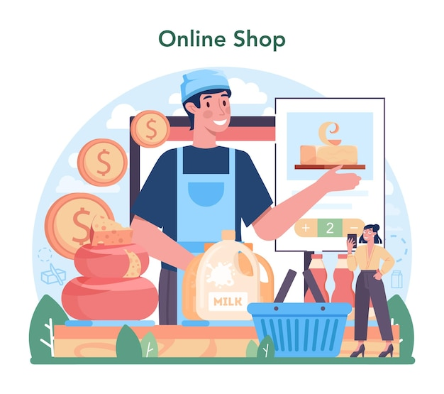 Dairy production industry online service or platform dairy natural