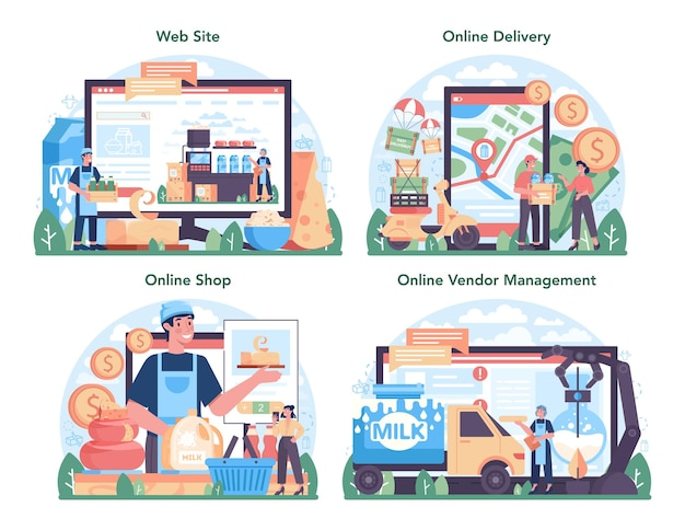Dairy production industry online service or platform set. dairy natural product. cow milking, dairy pasteurization. online delivery, shop, vendor management, website. flat vector illustration