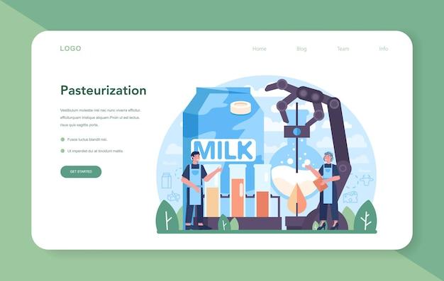 乳製品業界のwebバナーまたはランディングページ。乳製品ナチュラル