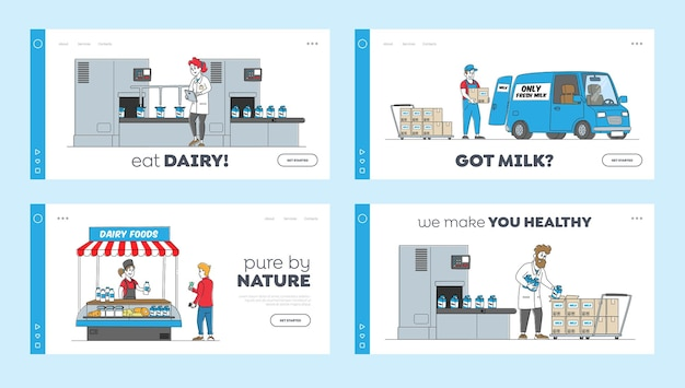 Dairy production manufacturing on plant landing page template set