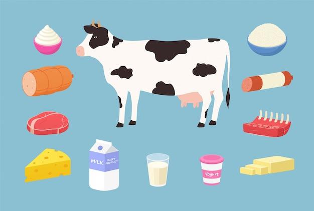 젖소의 유제품 및 육류 제품. 버터, 요구르트, 우유, 단단한 치즈, 갈비, 스테이크, 소시지, 크림, 코티지 치즈 세트.