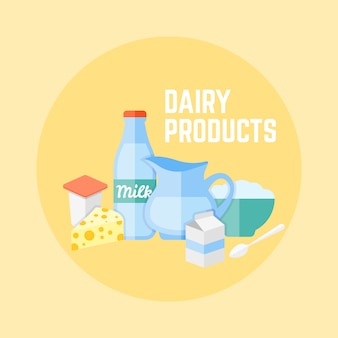 Dairy products flat design