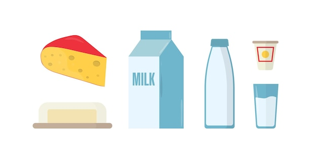 Dairy products flat vector illustrations set. milk in bottle, package and glass isolated cliparts pack on white background. piece of swiss cheese with holes, butter in plate design elements collection