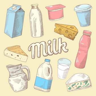 Dairy products hand drawn doodle with milk