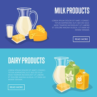 Dairy products horizontal banners set