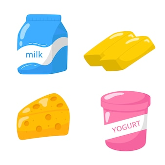 Dairy products icon hand drawn collection.