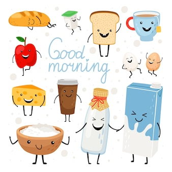 Dairy products kawaii flat illustrations set. milk bottle, tea cup, cheese with cute smiling faces