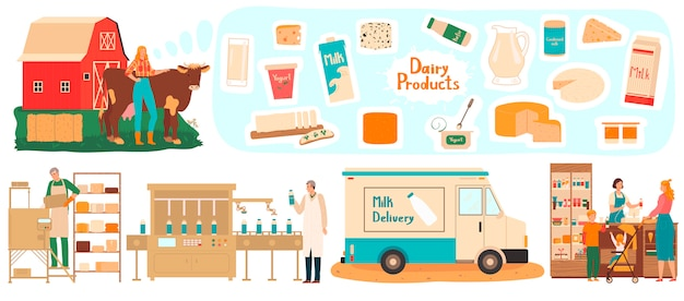 Dairy products manufacturing, farm milk delivery, people in food industry process,  illustration