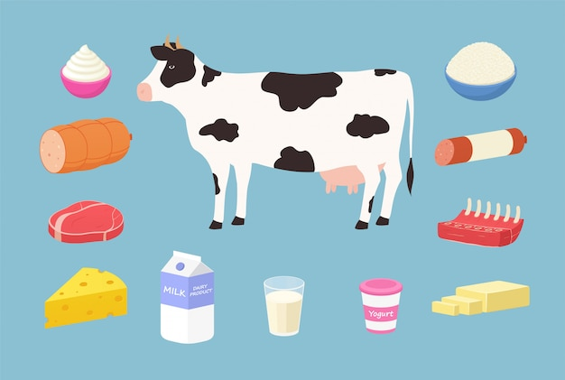 Dairy products and meat products from cows. set of butter, yogurt, milk, hard cheese, rib, steak, sausage, cream, cottage cheese.