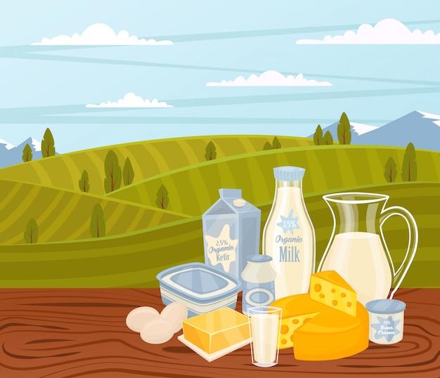 木製テーブルの上の乳製品