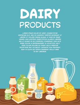 Dairy products poster template
