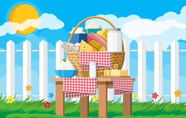 Dairy products set in basket. collection of milk food. milk, cheese, butter, sour cream, cottage, cream. nature grass flowers cloud and sun. tradicional farm products. vector illustration flat style
