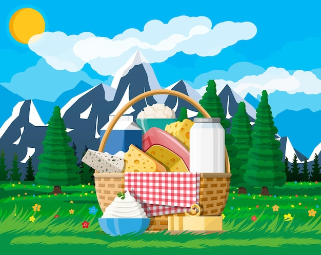 Dairy products set in basket on nature mountain landscape