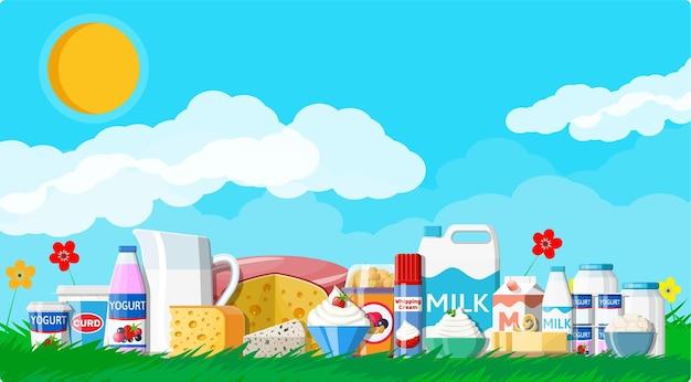 Набор молочных продуктов. сбор молочной пищи. молоко, сыр, простокваша, масло сливочное, сметана, творог, сливки. природа трава цветы облако и солнце. традиционные фермерские продукты. векторная иллюстрация плоский стиль
