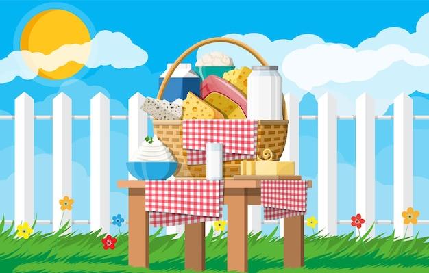 Набор молочных продуктов в корзину. сбор молочной пищи. молоко, сыр, масло сливочное, сметана, творог, сливки. природа трава цветы облако и солнце. традиционные фермерские продукты. векторная иллюстрация плоский стиль