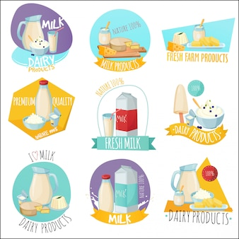 Dairy products set of logos