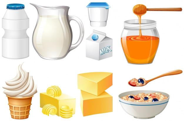 우유와 꿀 일러스트 세트 유제품