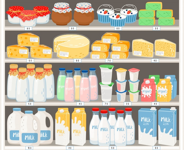 Dairy products in supermarket