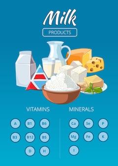 乳製品はインフォグラフィックをベクトルします。新鮮な牛乳、栄養ドリンク、チーズのイラスト