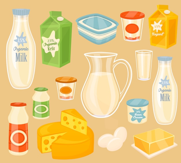 Dairy products on wooden table, milk, icon