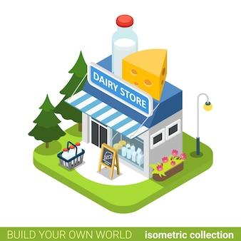 유제품 가게 건물 부동산 부동산 개념입니다.