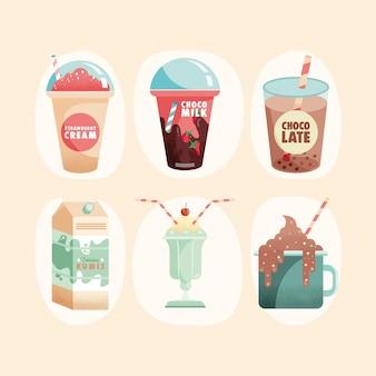 Иллюстрация шести молочных продуктов