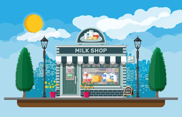 Dairy store or milk shop with signboard, awning. store facade with storefront. farmer shop, showcase counter. milk cheese yogurt butter sour cream. nature outdoor cityscape.