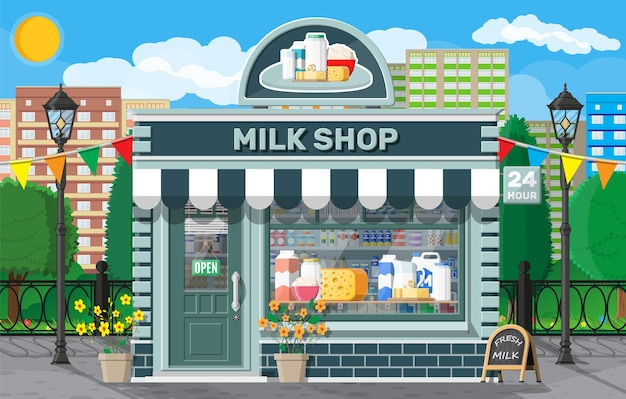 Dairy store or milk shop with signboard, awning