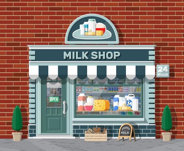 看板のある乳製品店やミルクショップ