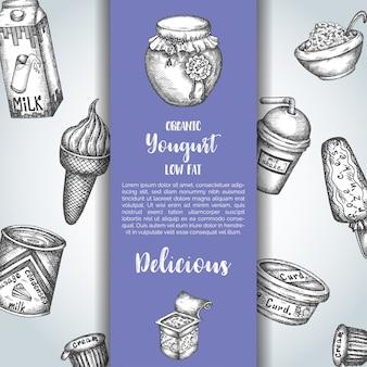 Dairy sweet background with yogurt and ice cream